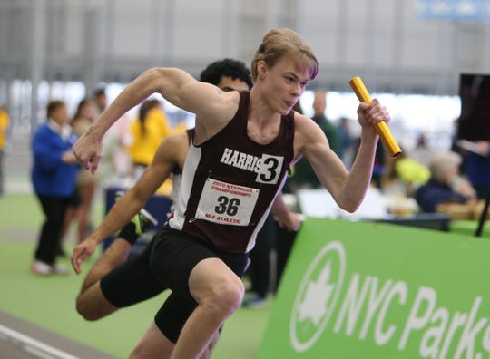Harrison's Peter Fischer runs a leg of the  4x200-meter relay during the NYSPHSAA Indoor Track & Field Championships at the Ocean Breeze Athletic Complex in Staten Island on Saturday, March 7, 2020.