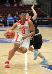 Hamilton's Brandon Harris is guarded by Tuckahoe's John Deane in game action between Alexander Hamilton and Tuckahoe during the Section One Class C Boys Championship game at the Westchester County Center in White Plains, March 7, 2020.