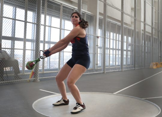 Horace Greeley's Kira Lindner competes in the weight throw during the NYSPHSAA Indoor Track & Field Championships at the Ocean Breeze Athletic Complex in Staten Island on Saturday, March 7, 2020.