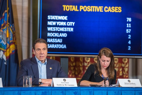 Gov.Andrew Cuomo in a noon briefing March 7, 2020, confirmed additional cases of novel coronavirus including 2 cases upstate in Saratoga County, bringing the statewide total to 76 confirmed cases in New York.