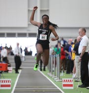 New Rochelle's Chiamaka Odenigbo competes in the triple-jump during the NYSPHSAA Indoor Track & Field Championships at the Ocean Breeze Athletic Complex in Staten Island on Saturday, March 7, 2020.