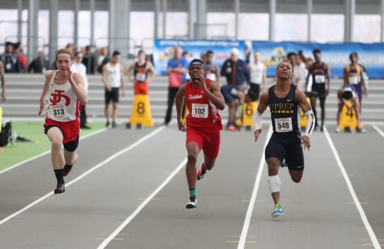 R.C. Ketcham's Davonte Burgos competes in the 55-meter dash preliminaries during the NYSPHSAA Indoor Track & Field Championships at the Ocean Breeze Athletic Complex in Staten Island on Saturday, March 7, 2020.