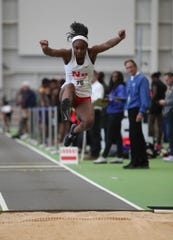 North Rockland's Nadia Saunders competes in the triple-jump during the NYSPHSAA Indoor Track & Field Championships at the Ocean Breeze Athletic Complex in Staten Island on Saturday, March 7, 2020.