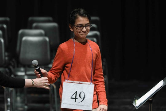 Sage Sawhney of F. Niel Postlethwait Middle School competes in the 30th annual State Spelling Bee competition Saturday March. 07, 2020, at Anna Graham Theater on the campus Saint Marks High school in Newark, DE and finished second. Ha-An Nguyen of Smyrna Middle School took first place while Anaum Allimulla of Newark Charter Junior High School placed third.