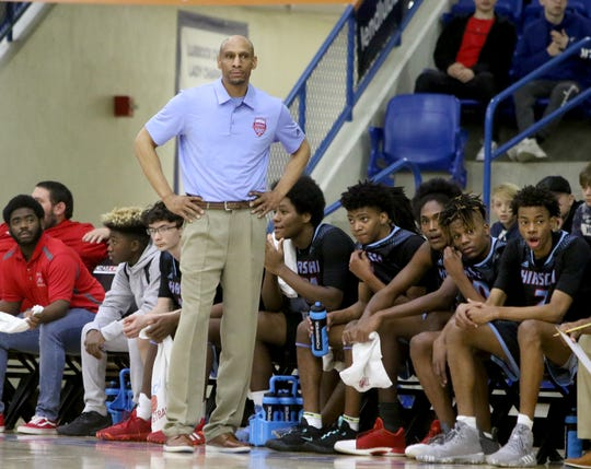 Hirschi head basketball coach Donal Hedge in the game against Pampa Friday, March 6, 2020, in the Region I-4A boys basketball tournament at Lubbock Christian University.
