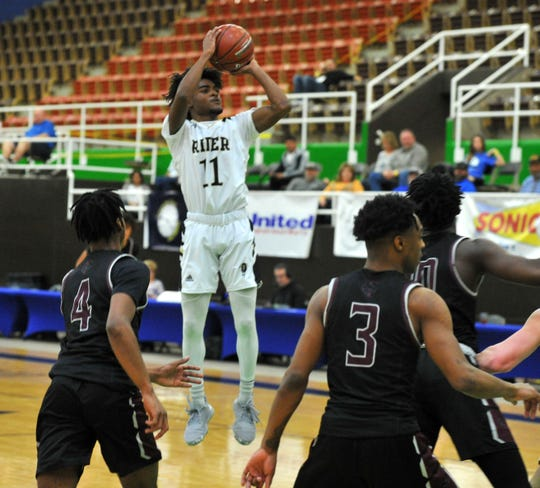 Rider's Nick Darcus pulls up for a two-point shot in a Region I-5A semifinal game against Mansfield Timberview at The Coliseum in Snyder on Friday, March 6, 2020.