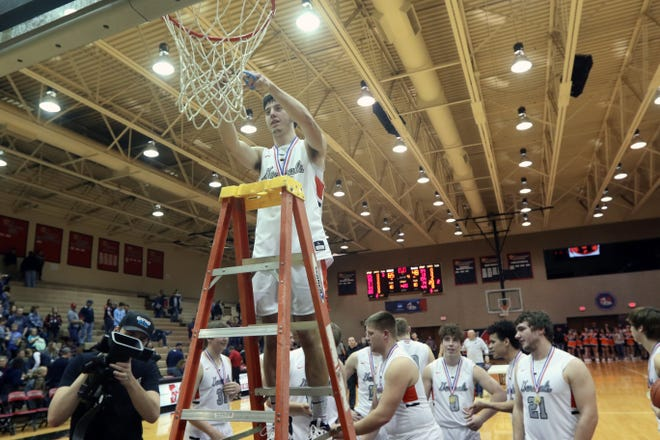 Ridgewood cuts down the nets after beating Morgan for its first district title and it advanced to the Division III regional semifinals. The Generals had the best season in program history, finishing 24-3 and reaching the program's first regional tournament.