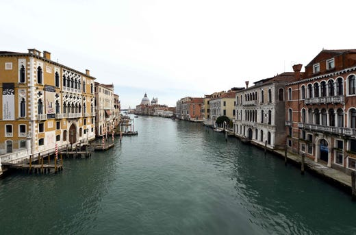 A picture shows the Venice Grand Canal totally empty in Venice on March 5, 2020.