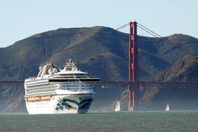 The Grand Princess cruise ship passes the Golden Gate Bridge as it arrives from Hawaii in San Francisco on Feb. 11, 2020.