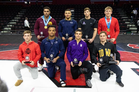 Sebastian Rivera, shown pictured second from the right on the bottom row of the 2020 Big Ten Conference champions on March 8 at the Rutgers Athletic Center, has announced he will transfer from Northwestern University as a post-graduate and enter the NCAA transfer portal. Could Rutgers be his next destination?