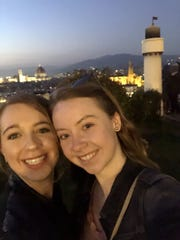 Sarah Lynch, right, with friend Julia Feigus, outside Florence, Italy.