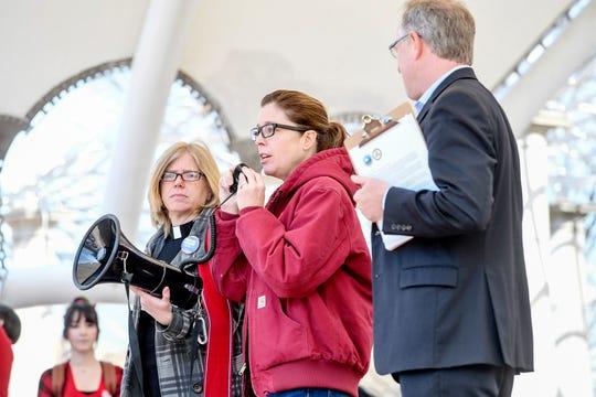 Asheville Mayor Esther Manheimer reads a letter to Mission nurses March 8, 2020.