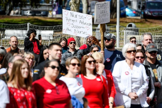 Mission nurses and supporters listen during a rally supporting unionizing March 8, 2020.