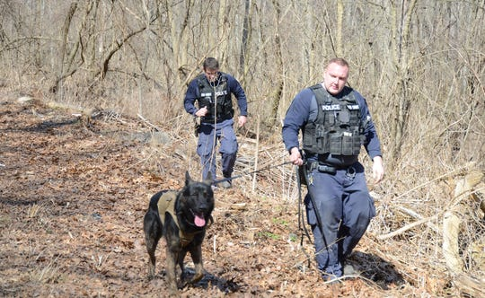 Battle Creek Corporal Jim Bailey and his dog, Felix, and Officer Andrew Winer search Sunday for evidence after police found a body  Saturday in Emmett Township.