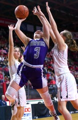 Abby Hansen (3) of Norwich looks to score during Sunday's game against Newark Valley. Norwich defeated Newark Valley with a final score of 58 - 46 to capture the Section 4, Class B, Girls Basketball Championship at the Broome County Veterans Memorial Arena. Sunday, March 8, 2020.
