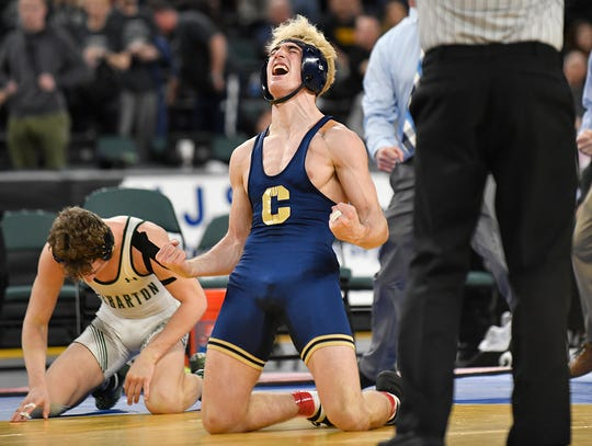 Andrew Clark of Collingswood defeats Andrew Troczynski of Delbarton in the 145 lb. final bout during the NJSIAA state individual wrestling tournament at Boardwalk Hall in Atlantic City on Saturday, March 7, 2020.