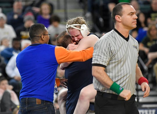 Alexis Rosano of Overbrook defeats Jordyn Katz of Jackson Memorial in the 143 lb. final bout during the NJSIAA state individual wrestling tournament at Boardwalk Hall in Atlantic City on Saturday, March 7, 2020.