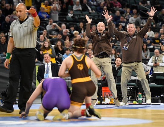 Emma Matera of Delran defeats Gabby Miller of Monroe Township in the 135-pound final of the NJSIAA State Wrestling Championships at Boardwalk Hall in Atlantic City on Saturday, March 7, 2020.