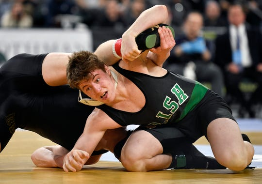 Martin Cosgrove of Camden Catholic defeats David Szuba of Brick Memorial in the 195 lb. final bout during the NJSIAA state individual wrestling tournament at Boardwalk Hall in Atlantic City on Saturday, March 7, 2020.