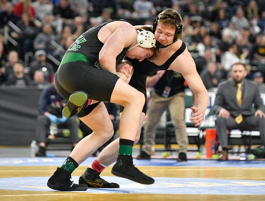 Martin Cosgrove of Camden Catholic defeats David Szuba of Brick Memorial in the 195-pound final bout during the NJSIAA state individual wrestling tournament at Boardwalk Hall in Atlantic City on Saturday, March 7, 2020.
