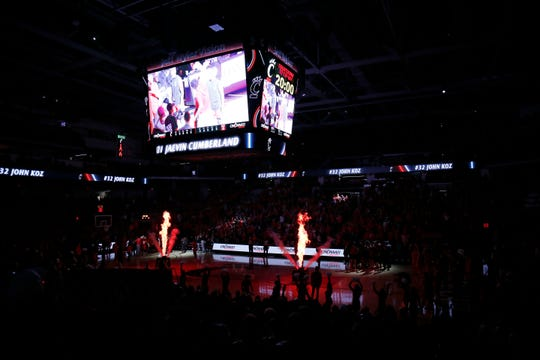 The Cincinnati Bearcats take the court before the first half of the NCAA America Athletic Conference basketball game between the Cincinnati Bearcats and the Temple Owls at Fifth Third Arena in Cincinnati on Saturday, March 7, 2020. The Bearcats trailed 31-17 at halftime.