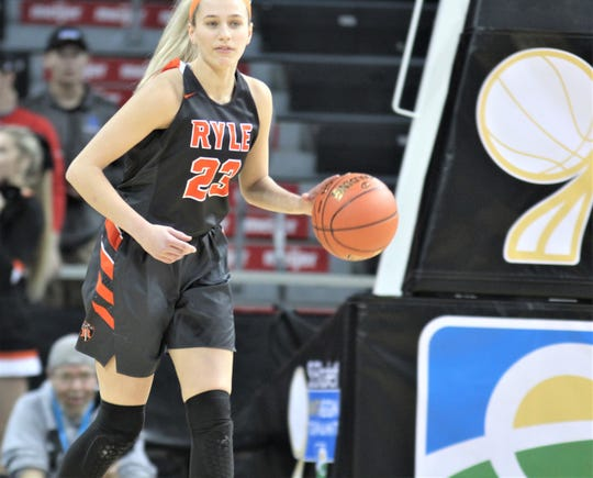 Ryle senior Maddie Scherr starts the offense. KHSAA 9th Region girls basketball championship, March 8, 2020 at BB&T Arena, Highland Heights, Ky. Ryle defeated Notre Dame 47-42 for its third consecutive regional championship.