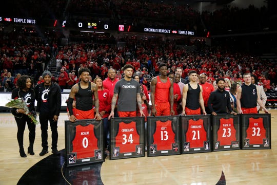 The Bearcats seniors are recognized on senior night before the first half of the NCAA America Athletic Conference basketball game between the Cincinnati Bearcats and the Temple Owls at Fifth Third Arena in Cincinnati on Saturday, March 7, 2020. The Bearcats trailed 31-17 at halftime.