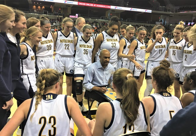 Notre Dame head coach Kes Murphy and the Pandas. KHSAA 9th Region girls basketball championship, March 8, 2020 at BB&T Arena, Highland Heights, Ky. Ryle defeated Notre Dame 47-42 for its third consecutive regional championship.
