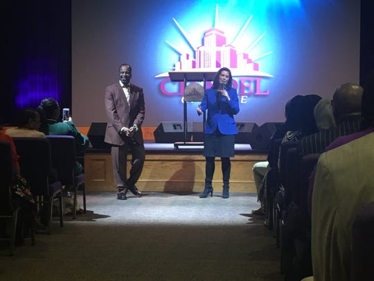 Gov. Gretchen Whitmer campaigning for Vice President Joe Biden at the Citadel of Praise Church on the west side of Detroit on Sunday, March 8, 2020. She is with Pastor Spencer Ellis.