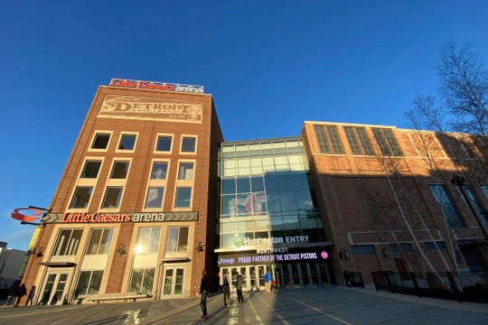 General view of the exterior of Little Caesars Arena prior to the game between the Detroit Pistons and Utah Jazz on March 7, 2020.