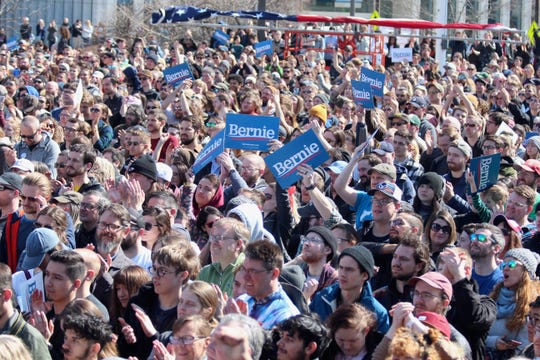 A crowd of thousands turned out to hear U.S. Sen. Bernie Sanders speak during a rally on Sunday, March 8, at Calder Plaza in Grand Rapdis. [Brian Vernellis/Sentinel staff]
