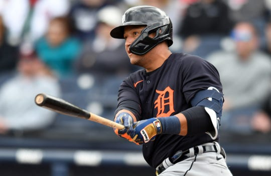 Detroit Tigers infielder Miguel Cabrera hits a double in the first inning against the Washington Nationals on March 8, 2020 in West Palm Beach, Fla.