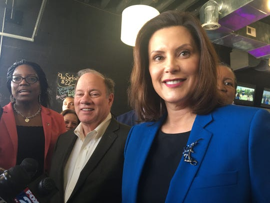 Gov. Gretchen Whitmer campaigns for former Vice President Joe Biden in Detroit on Sunday, March 8, 2020, at the Good Times on the Avenue restaurant on Livernois. Detroit Mayor Mike Duggan was also at the event.
