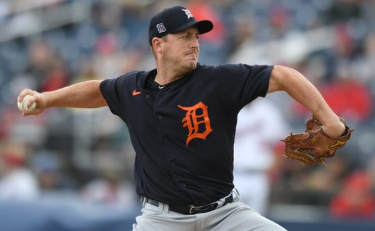 Detroit Tigers pitcher Jordan Zimmermann pitches against the Washington Nationals in the first inning March 8, 2020 in West Palm Beach, Fla.