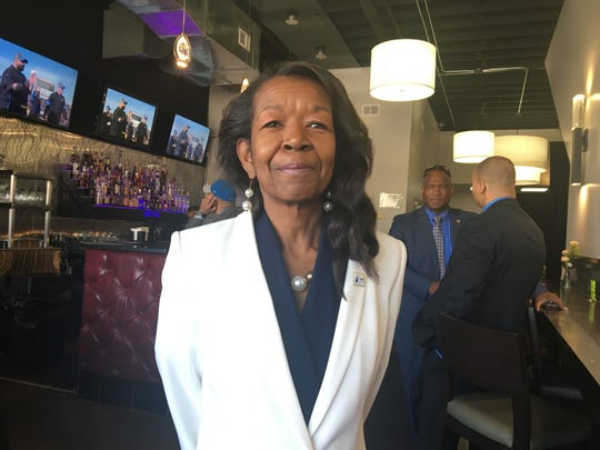 Brenda Thompson, a Detroit resident and supporter of U.S. Sen. Bernie Sanders, at the Good Times on the Avenue restaurant Sunday, March 8, 2020.