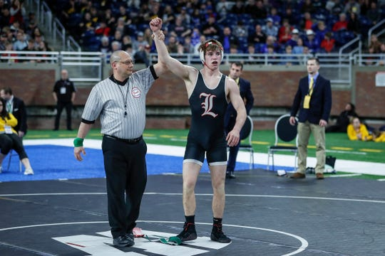 Lowell's Austin Boone defeated Gaylord's Chayse LaJoie during MHSAA Division 2 145 pounds wrestling individual finals at Ford Field in Detroit, Saturday, March 7, 2020.