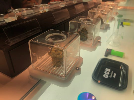 Puff pods allow customers to smell the buds before purchasing. Breeze Provisioning Center opened as Oakland County's first recreational pot shop March 8.