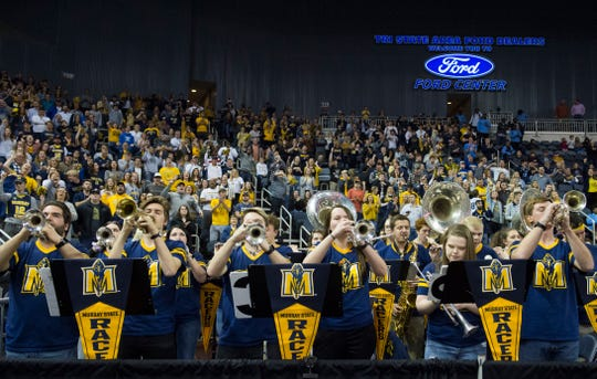 The Murray State Racers band plays during the Ohio Valley Conference Championship game at Ford Center Saturday evening, March 7, 2020.