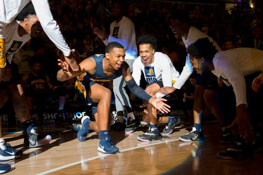 Murray State's DaQuan Smith (1) is announced as the Murray State Racers play the Belmont Bruins during the Ohio Valley Conference Championship game at Ford Center Saturday evening, March 7, 2020.