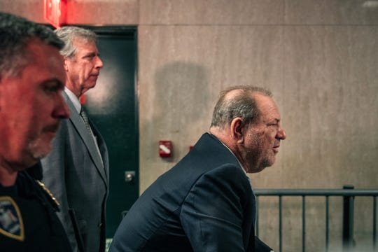 NEW YORK, NY - FEBRUARY 24: Harvey Weinstein enters New York City Criminal Court on February 24, 2020 in New York City. Jury deliberations in the high-profile trial are believed to be nearing a close, with a verdict on Weinstein's numerous rape and sexual misconduct charges expected in the coming days. (Photo by Scott Heins/Getty Images)