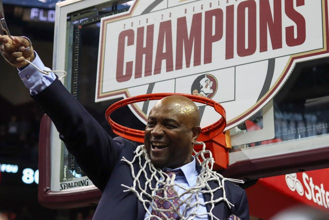 Coach Hamilton cut down the new as FSU won their first conference regular season title since they won the Metro Conference in 1988-89 season.
