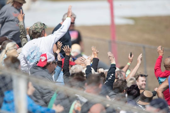 Fans watch the Swamp Buggy races at Florida Sports Park in Collier County on Sunday March, 8, 2020. This is the third race of the season. The Bud Cup Champion will be crowned today.