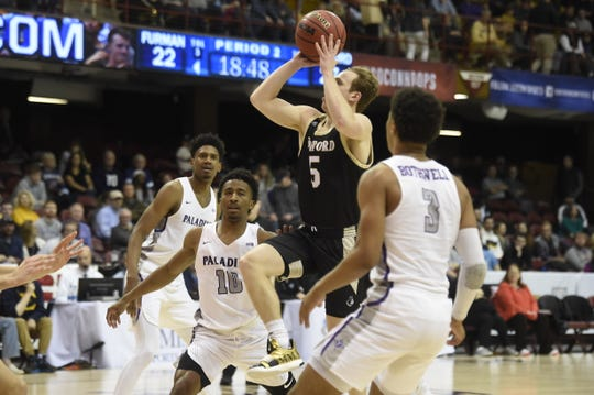 Wofford defeated Furman in the quarterfinals of the Southern Conference men's basketball tournament on Saturday, March 7, 2020 at Harrah's Cherokee Center in Asheville, North Carolina.