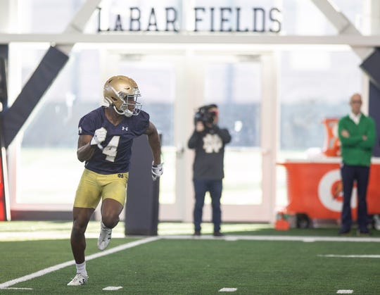 March 5, 2020; South Bend, IN, USA; Kevin Austin Jr. runs a route during Notre Dame's first spring football practice at the Irish Athletics Center.