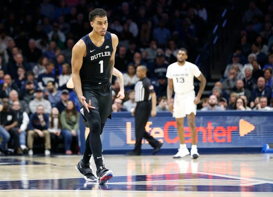 Mar 7, 2020; Cincinnati, OH, USA; Butler Bulldogs forward Jordan Tucker (1) reacts after scoring against the Xavier Musketeers during the first half at the Cintas Center.