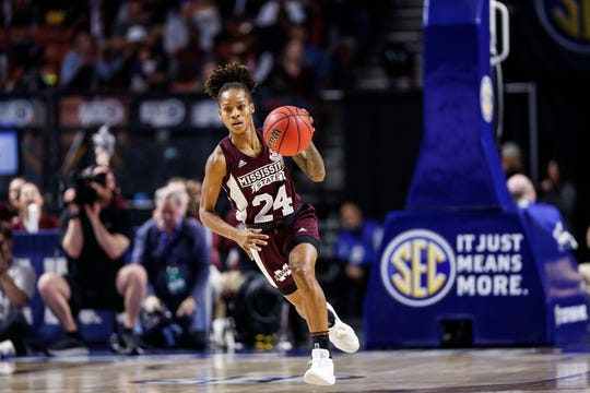 Mississippi State senior guard Jordan Danberry dribbles up the court during the Bulldogs' loss to South Carolina in the SEC Tournament Championship Game.
