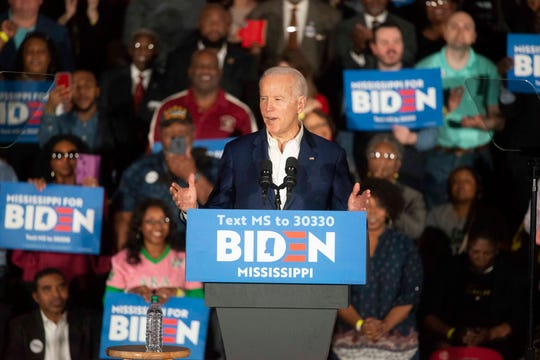 Former Vice President Joe Biden speaks to attendees of his campaign rally at Tougaloo College in Jackson, Miss. on Sunday, March 8, 2020.