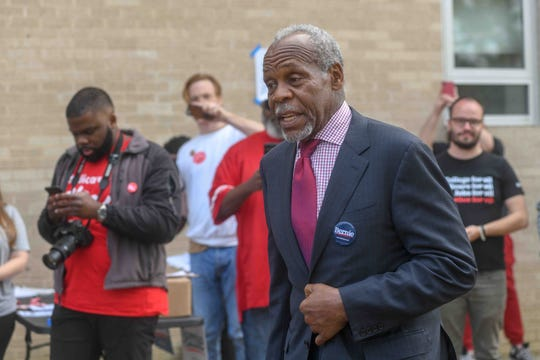 Actor Danny Glover speaks at a Sen. Bernie Sanders presidential campaign rally at Callaway High School in Jackson, Miss. Sunday, March 8, 2020.