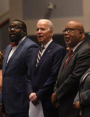 Former Vice President Joe Biden sings at a Sunday morning service as a guest of New Hope Baptist Church in Jackson, Miss., ahead the state's Democratic primary happening on Tuesday. Sunday, March 8, 2020.