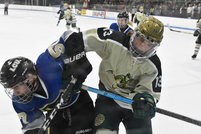 Howell's Steven Miller (13) checks Jordan Rivera of Macomb L'Anse Creuse North into the boards during a state Division 1 hockey quarterfinal on Saturday, March 7, 2020.